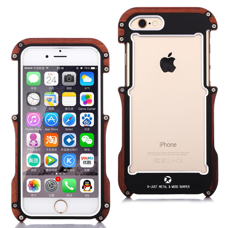 R-Just Light Slim Timber Aluminum Metal Wood Bumper Case Cover - Armor King Case