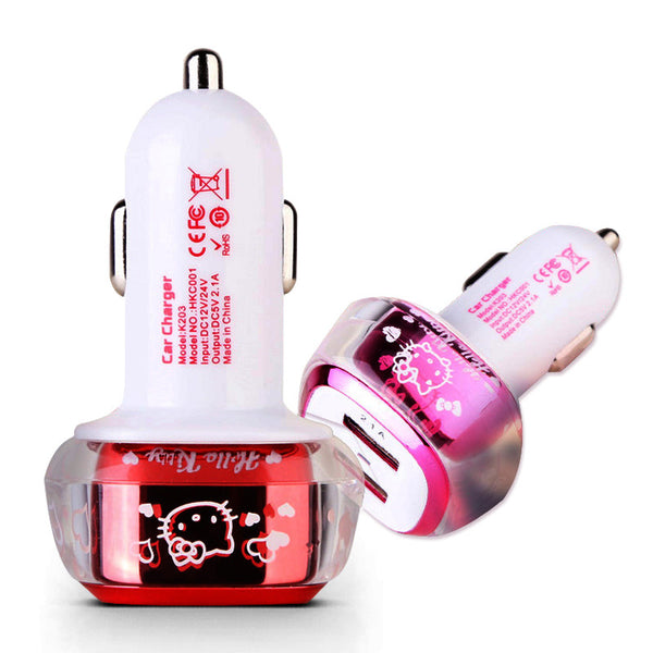 Hello Kitty Travel 2.1A Dual Ports Universal Smart USB Car Charger