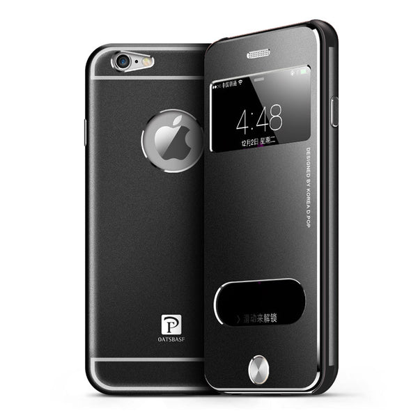 Oatsbasf Acrylic Transparent View Window Metal Flip Case Cover
