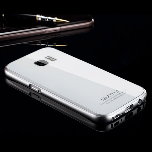 Luphie Aircraft Aluminum Metal Frame 9H Tempered Glass Back Cover Case