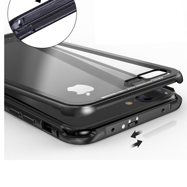 Luphie iGlass Airframe Aluminum Bumper Air Barrier Tempered Glass Back Case Cover