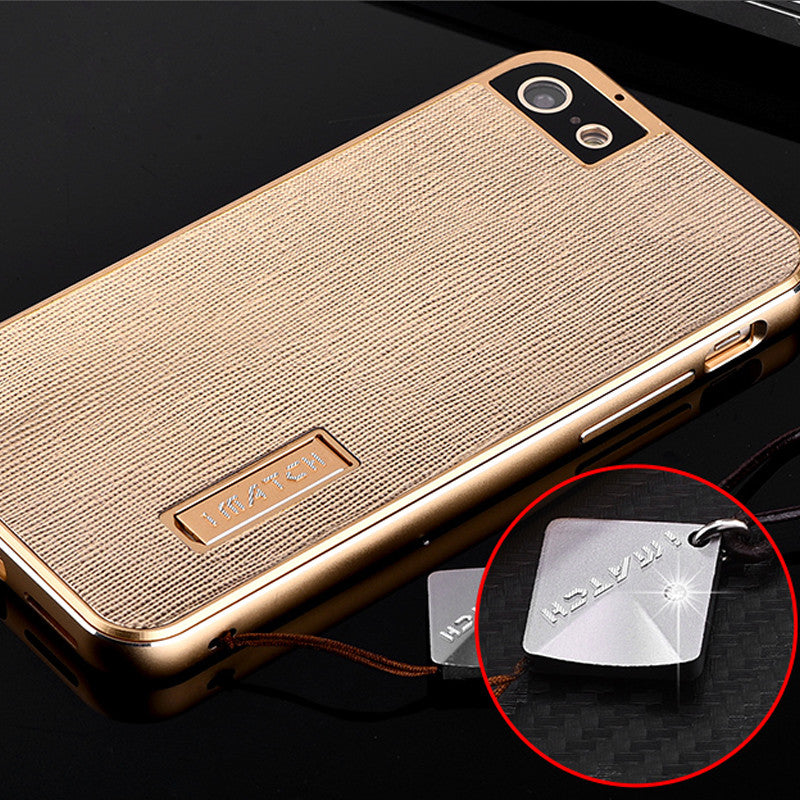 iMatch Aluminum Metal Bumper Fiber Grain Genuine Leather Back Cover Case