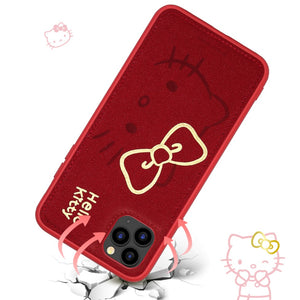 UKA Hello Kitty Gold Stamping PU Leather Back Cover Case