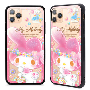 GARMMA Hello Kitty & Little Twin Stars & My Melody Tempered Glass Back Case Cover for Apple New iPhone