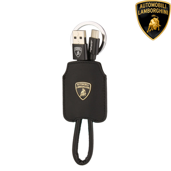 Automobili Lamborghini Diablo D4 Keychain Genuine Leather Lightning & Type-C Charging Cable