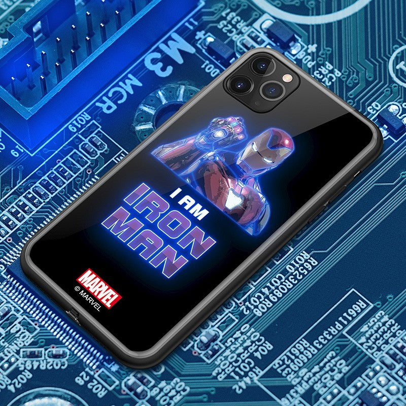 UKA Marvel Avengers Electric Flash Luminous Tempered Glass Back Case Cover