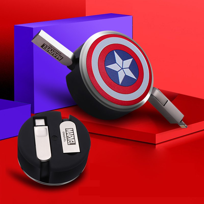 X-Doria Avengers Retractable Charging Data Sync Type-C/Lightning+Micro USB Cable