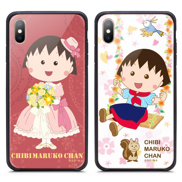 GARMMA Chibi Maruko-chan Air Cushion Shockproof Tempered Glass Back Case Cover