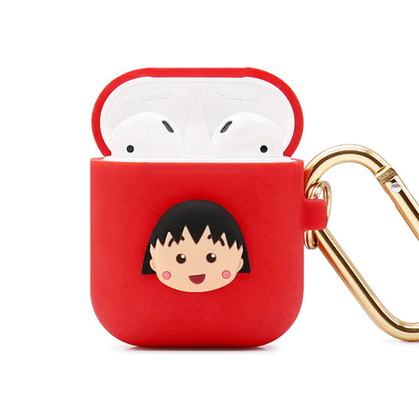 GARMMA Chibi Maruko-chan Shockproof Apple AirPods Charging Case Cover with Carabiner Clip