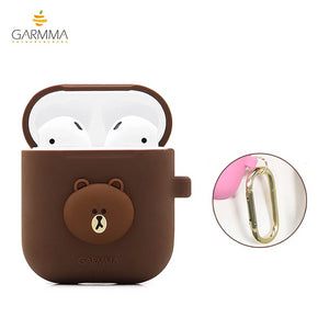 GARMMA Line Friends Shockproof Apple AirPods 2&1 Charging Case Cover with Carabiner Clip