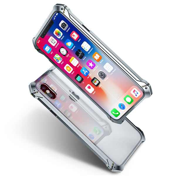 GINMIC RHINO Shockproof Aerospace Aluminum Bumper Toughened Glass Cover Case for Apple iPhone X