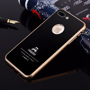 iMatch Aviation Aluminum Alloy Metal Bumper Tempered Glass Back Cover Case