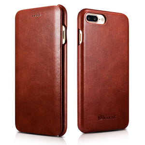iCarer Curved Edge Vintage Series Side Open Handmade Genuine Cowhide Leather Case Cover