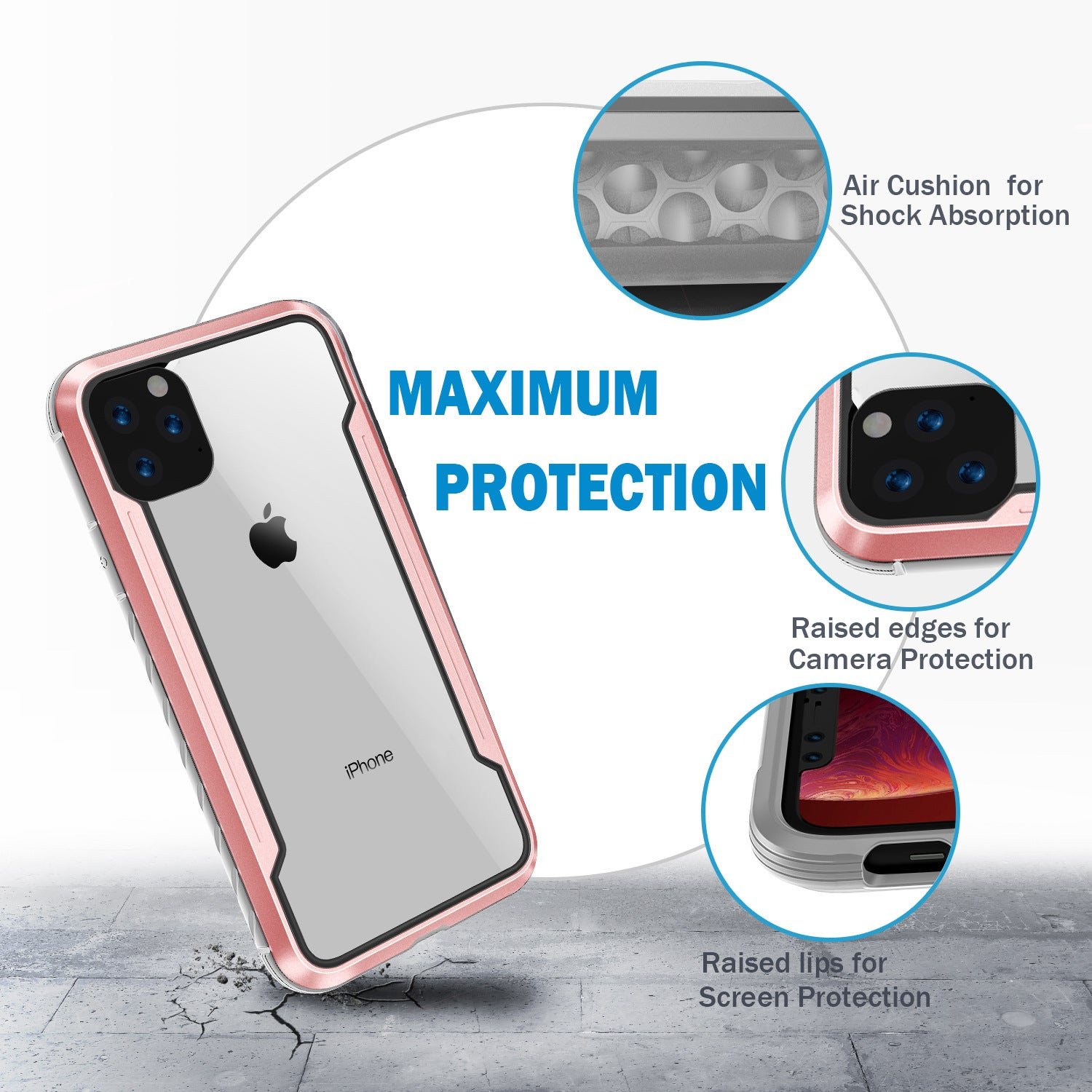 Kylin Armor Defense Shield Military Grade Drop Tested Anodized Aluminum Shockproof TPU Clear PC Protective Case Cover