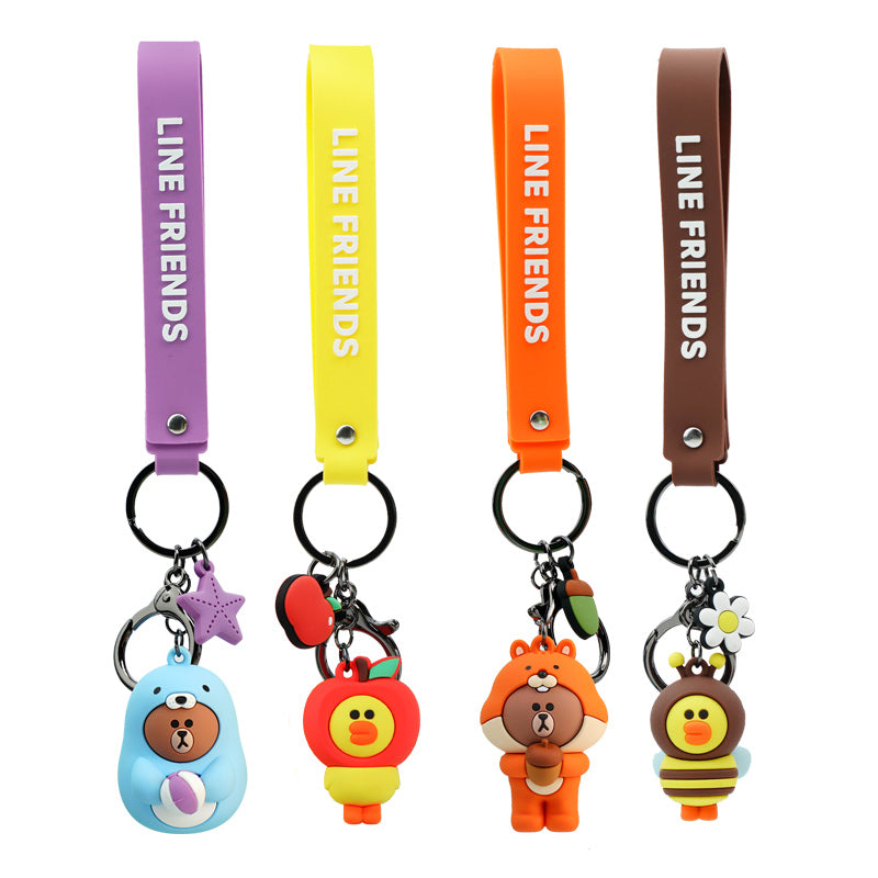 Line Friends Keychain Ring Cute Doll Pendant Anti-lost Strap Silicone Lanyard