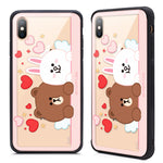 GARMMA Line Friends LOVE Air Shockproof Tempered Glass Back Case Cover for Apple iPhone