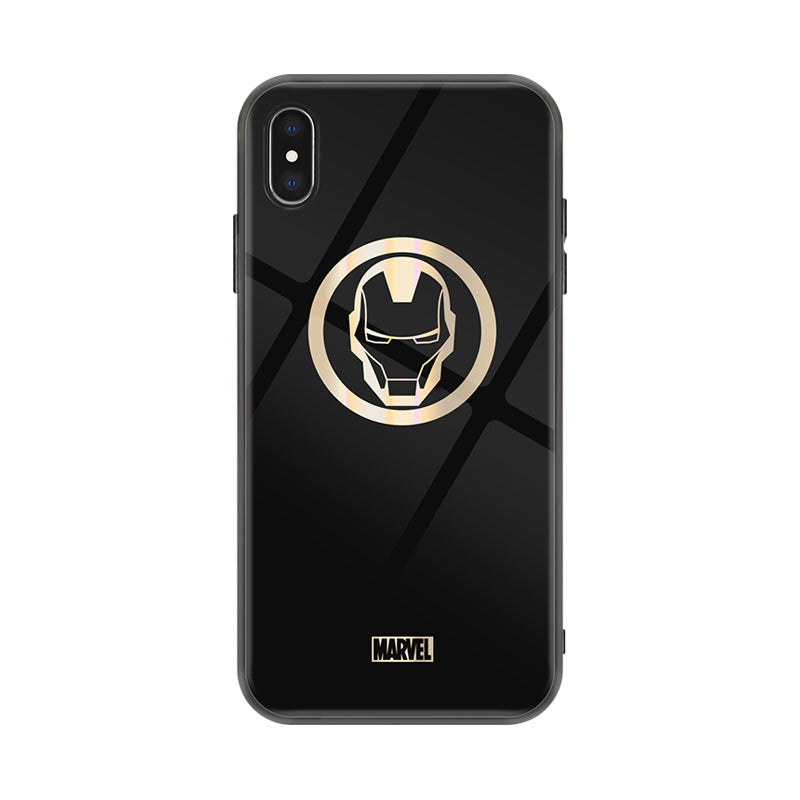 X-Doria Marvel Avengers Dazzle Gold Tempered Glass Back Case Cover