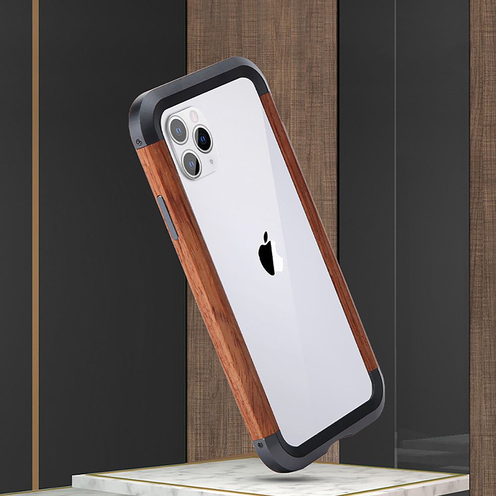 R-Just IRONWOOD II Light Slim Timber Aluminum Metal Wood Bumper Case Cover