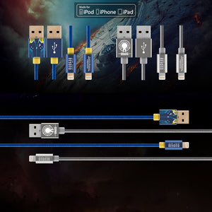 Star Trek Beyond MFi Certified Nylon Braided 1M 2A Fast Charging Lighting Cable for Apple iPhone iPad iPod