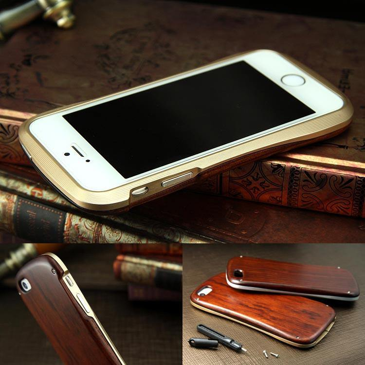 Armor King Allure Wood Neo Hybrid Aluminum Metal Frame Real Wood Cover Case for Apple iPhone 6S/6