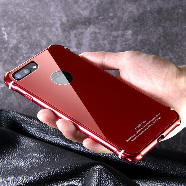 iy Rainbow Aluminum Metal Frame 9H Tempered Glass Back Cover Case