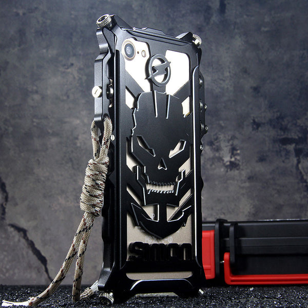 SIMON Mechanical Arm Skull Punk Premium Aluminum Metal Bumper Shockproof Case Cover - Armor King Case