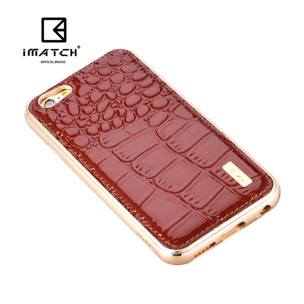 iMatch Luxury Aluminum Metal Bumper Premium Crocodile Grain Genuine Leather Back Cover Case