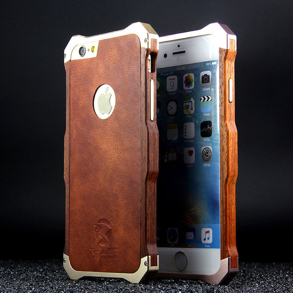 R-Just Aluminum Metal Natural Rosewood Bumper Leather Back Cover Case -  Armor King Case 565000922a39