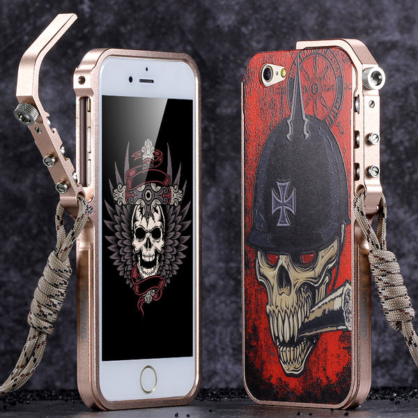KANENG Mechanical Arm Trigger Aluminum Metal Bumper Skull PC Back Case Cover