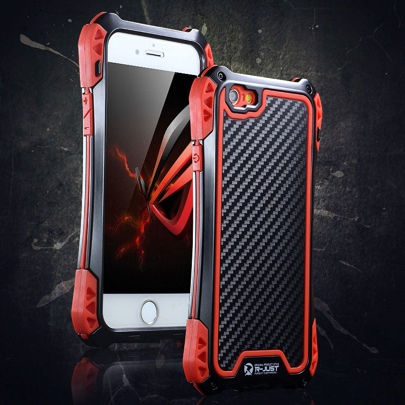 R-Just Amira Aluminum Metal Frame Shockproof TPU Carbon Fiber Cover Case