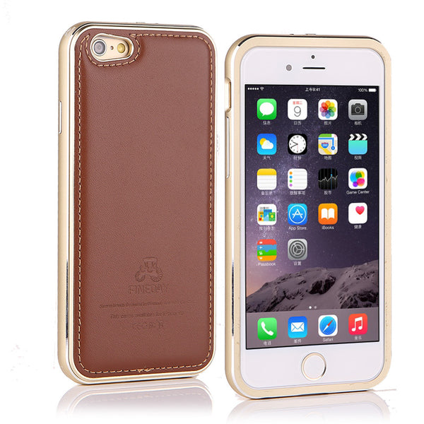 iMatch Luxury Aluminum Metal Bumper Premium Genuine Leather Back Cover Case
