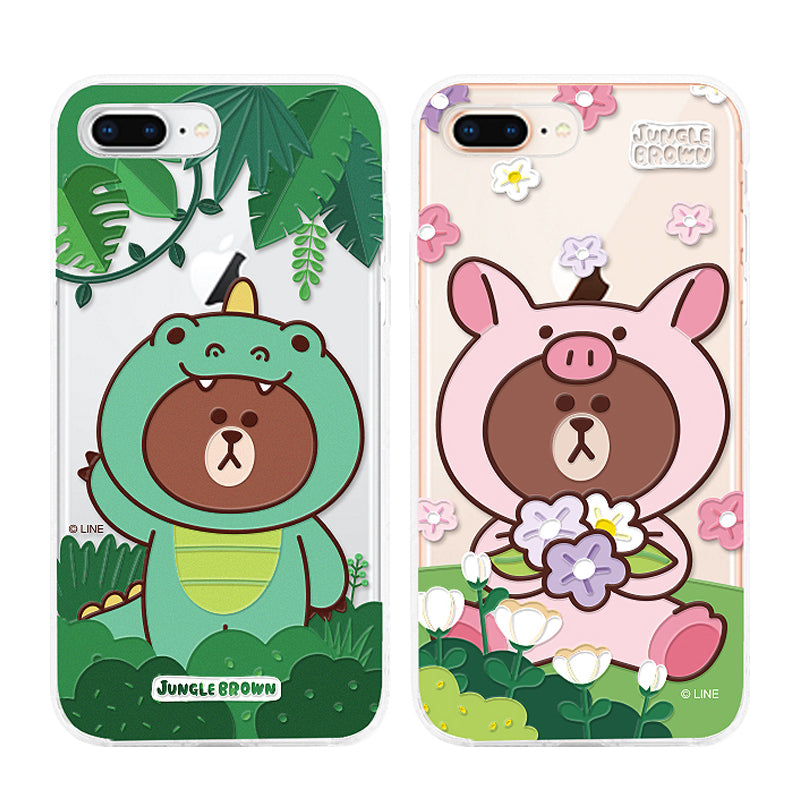 GARMMA Line Friends Jungle Brown Shockproof Air Barrier Transparent TPU Soft Back Cover Case