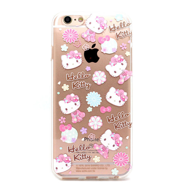 new style e6021 47381 Hello Kitty Kimono Transparent Soft Back Cover Case for Apple iPhone XS/8  Plus/7 Plus/7