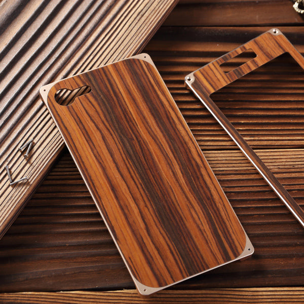 Armor King Natural Wood Aluminum Hybrid Shockproof Hard Metal Protective Cover Case