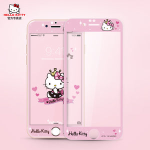Hello Kitty Glitter 9H Tempered Glass Screen Protector w/  Back Film for Apple iPhone 6S Plus/6S/6