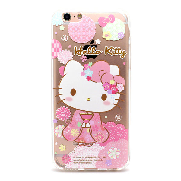 new style 6c2ac 626fb Hello Kitty Kimono Transparent Soft Back Cover Case for Apple iPhone XS/8  Plus/7 Plus/7