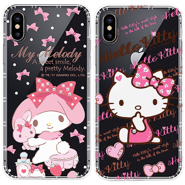 GARMMA Hello Kitty & My Melody & Little Twin Stars Bling Crystal Air Cushion Soft Back Case Cover