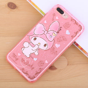 gourmandise Hello Kitty & My Melody Transparent TPU Soft Back Cover Case for Apple iPhone 8 Plus/7 Plus/7