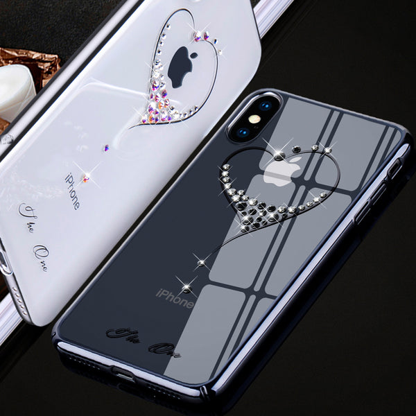 new arrival 091fa 33476 KINGXBAR Swarovski Crystal Clear Hard PC Case Cover for Apple iPhone XS/X