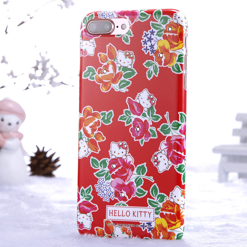Hello Kitty Florid Bling Crystal Rhinestone Diamonds PC Case for Apple iPhone 8 Plus/87 Plus/7