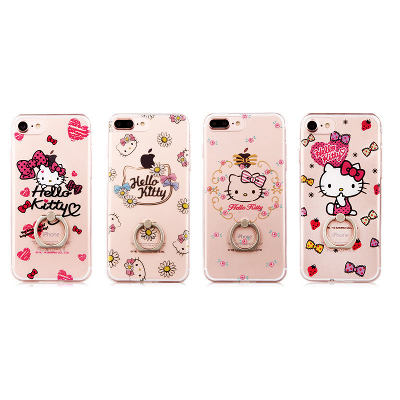Hello Kitty Rhythm Slim Transparent TPU Bumper PC Cover Case w/ Ring Grip for Apple iPhone