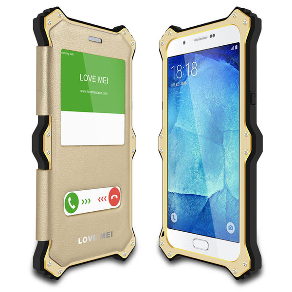 LOVE MEI MK2 Glass Aluminum Metal Shockproof Magnetic Leather Flip Case