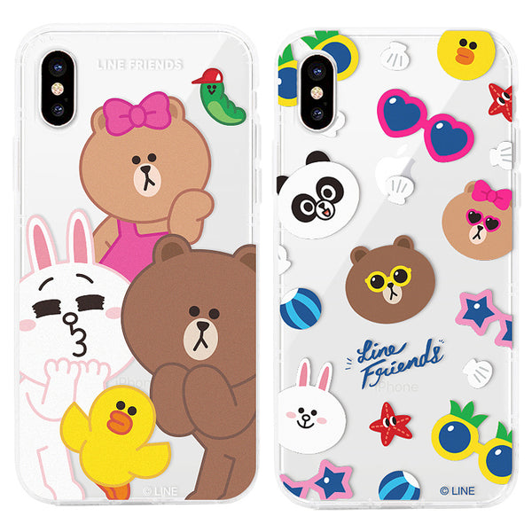 GARMMA Line Friends Air Cushion Transparent TPU Soft Back Case Cover for Apple iPhone