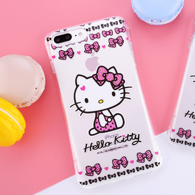 Hello Kitty Cincher Slim Waist Diamonds Transparent TPU Cover Case for Apple iPhone