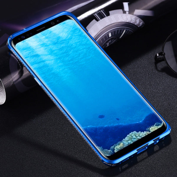 iMatch Slim Light Aluminum Metal Shockproof Bumper Case with Kickstand & Strap