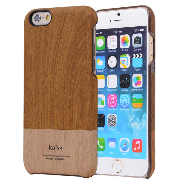 kajsa / MOKKA Outdoor Collection Natural Wood Pattern PU Leather Hard Case Cover