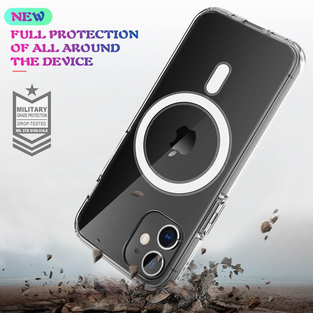 R-Just Magnetic Wireless Charging 1.5mm PC+TPU Shockproof Clear Back Cover