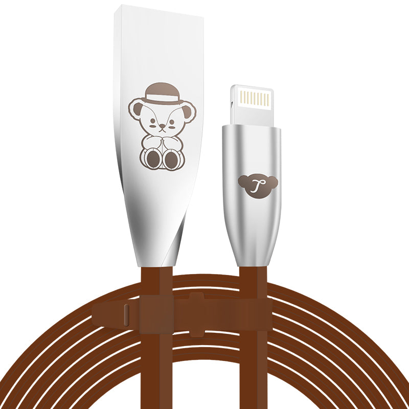 Teddy Bear Zinc Alloy Connector Apple Lightning / Type-C / Micro USB Cable for iOS & Android Devices