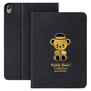 Teddy Bear 3D Embroidery Auto Sleep Folio Stand Leather Case for Apple iPad
