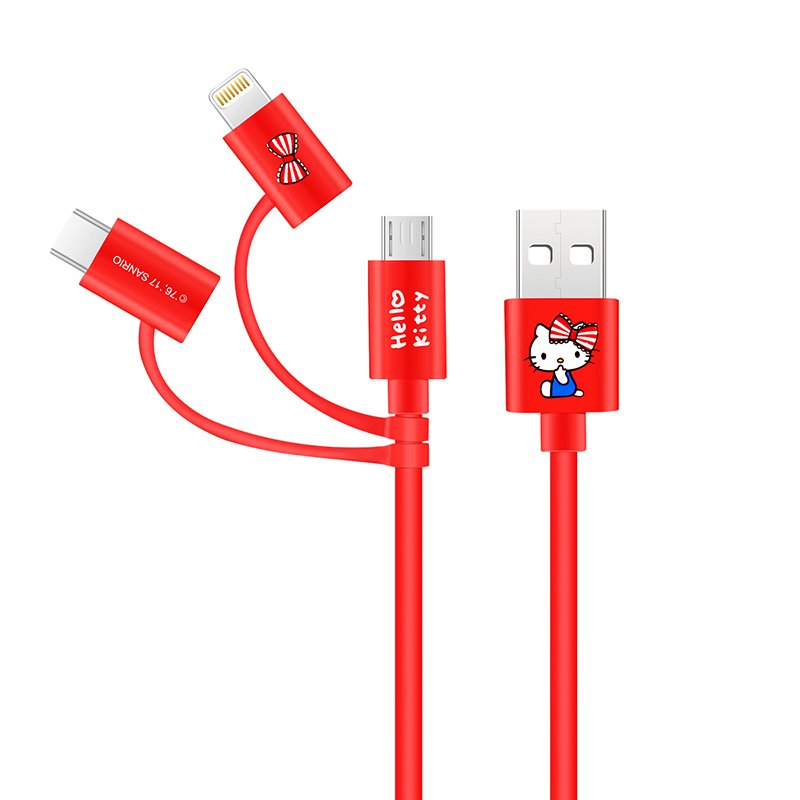 X-Doria Sweet Series Hello Kitty 2A Fast Charging 3-in-1 Lightning+Type-C+Micro USB Cable